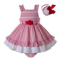 vestido de flores niñas raya bebé al por mayor-Pettigirl Summer sin mangas Baby Girls Dress rayas rojas y flores decoran capas disfraces niños boutique ropa G-DMCS203-C153