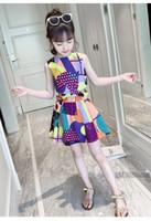 neue modellkleidjungen großhandel-Explosion Modelle Kontrastfarbe Mädchen Weste Rock Anzug Sommer neue Kinder Sommerkleid in der großen Jungen Baumwolle zweiteilig