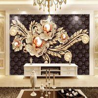 luxus-gold-tapete großhandel-Luxus 3D Wallpaper Gold Schmuck Diamant Perle Blumen Wandbild Sofa TV Hintergrundbild Wohnzimmer Dekor große Fresko 3D Stereo-Tapete