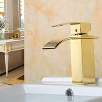 wasserfall badezimmer eitelkeit waschbecken wasserhahn großhandel-Bad Wasserfall Wasserhahn Deck Montiert Messing Vanity Sink Mischbatterie Gold / Chrom / Rose Golden Sink Messing Bad Becken Wasserhahn