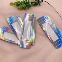 Wholesale d box price resale online - Holographic lashes box with clear tray custom private label price high quality lashes box no fold custom logo