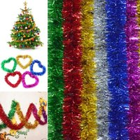 oropel de arboles de navidad al por mayor-Cumpleaños boda 6 colores / 2M decoración del partido de Navidad del árbol de Navidad Adornos oropel decoraciones colgantes de PVC gota ornamento