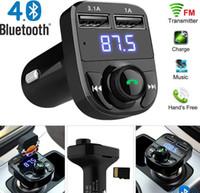 kit de carga inalámbrica iphone al por mayor-Modulador de transmisor FM inalámbrico Bluetooth Bluetooth para coche con carga rápida de 3.1A Kit de doble USB Soporte manos libres con paquete
