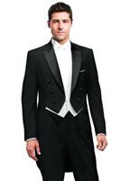 trajes de abrigo de cola al por mayor-Última Frac boda del hombre de los trajes del novio del doble de pecho Conjunto de 3 piezas Pantalones Negro blanco de la chaqueta del chaleco de fin de curso del partido de danza de la etapa
