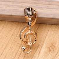 Wholesale music brooches resale online - Classic Music Represents The Golden Microphone Shape Brooch Music Lovers Best Gift Ladies Men s Singer Club Rock Jewelry