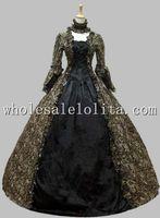 vestido vitoriano marrom venda por atacado-Georgiano vitoriano período gótico vestido de baile de máscaras vestido de baile Reenactment traje marrom