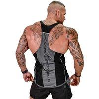 herren-sport-singlets großhandel-Herren Laufsport Tank Tops Bodybuilding ärmellose Hemden Sommer Herren Fitness Workout Training Singulett Weste Crossfit Bekleidung