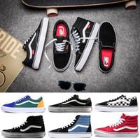e9d1cb830c2584 Original Vans Old Skool sk8-hi Authentic mens womens Canvas Sneakers Tripl  Black White YACHT CLUB MARSHMALLOW Cool Skate Casual Shoes 36-44