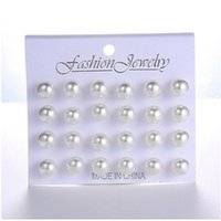 Wholesale balls for earrings for sale - 12 pairs set White Simulated Pearl Stud Earrings Set For Women Jewelry Accessories Piercing Ball Earrings kit Bijouteria brincos