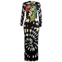 ingrosso vestiti femminili di un pezzo-Abiti da donna Club Sexy manica lunga spacco stampato abito O-collo Lady One Piece Street Abbigliamento femminile
