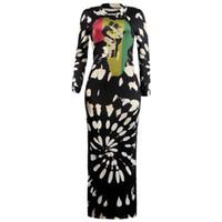 robes féminines une pièce achat en gros de-Femmes Club Robes Sexy À Manches Longues Split Robe Imprimée O-cou Dame Une Pièce Rue Vêtements Femmes