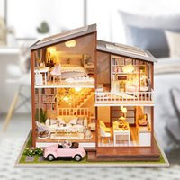 Wholesale wooden home kits resale online - Furniture Doll House Wooden Miniature Diy Dollhouse Furniture Kit Assemble With Dust Cover Doll Home Toys For Christmas Gift SH190709