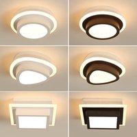 sanat modern boya akrilik toptan satış-Akrilik Modern Boyalı Ev Lambası Plafonnier Luminaria LAMPARAS De techo Beyaz Of Black Koridor girişinde İçin Tavan LED Işıklar