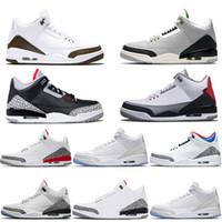 свободная обувь чёрная оптовых-Nike Air Jordan 3 Retro Мужская обувь для дизайнеров баскетбола Katrina Tinker Черный цемент Корея Чистый белый огненный красный тренер Спортивный кроссовщик Размер