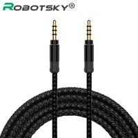 Wholesale mp3 player for car jack resale online - Robotsky Jack mm Audio Cable Nylon Braid mm Car Aux Cable m Headphone Extension Code For Phone Mp3 Car Headset Speaker