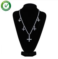 Wholesale gold filled cuban chains for men resale online - Iced Out Chains Hip Hop Jewelry Designer Necklace Mens Luxury Diamond Cuban Link Tennis Chain Cross Pendant for Men Micropaved Bling CZ Boy