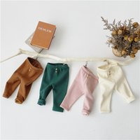 Wholesale blue toddler leggings for sale - Group buy INS Infant Toddler Knitted Pants Solid Color design Boy girl spring fall autumnpp pants thick cotton high quality children pants leggings