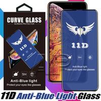 emballage iphone anti-reflets achat en gros de-Protecteur d'écran en verre trempé léger anti-bleu 11D pour iPhone X XR Xs max verre de protection Samsung avec emballage