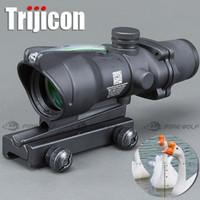 fibra ótica venda por atacado-Caça Riflescope ACOG 4X32 Real Fibra Óptica Ponto Vermelho Iluminado Chevron Vidro Gravado Reticle Tactical Optical Sight