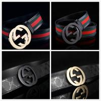 hombres de plata genuina al por mayor-Venta caliente Mejor vendedor Diseño clásico Hebilla Cinturones de alta calidad para hombres mujeres Cinturón de cuero genuino Negro Oro Hebilla de plata para regalo 8198