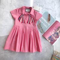 modelo de falda al por mayor-Estilo popular El último modelo de verano para niños falda vestido de niña de alta calidad increíble Sweet Butterfly plisado rosa escuela