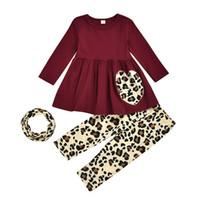 meninas vestido de impressão leopardo venda por atacado-Primavera e Outono bebê vinho conjuntos de roupas meninas vermelho vestido de mangas compridas top + leopardo impresso Pants + leopardo cachecol 3pcs / set M909