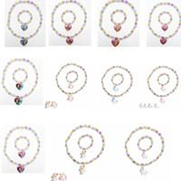 Wholesale girls pearl necklace bracelet resale online - Unicorn Necklace Bracelet Set Acrylic Pearl Mermaid Necklace mm Acrylic Beads Pendent Girl Bracelet Christmas Gift STYLES GGA3050
