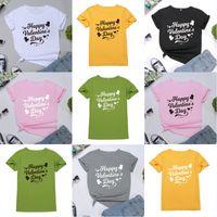 blusas de corazon mujeres al por mayor-Día de manga corta a cuadros camisetas del gráfico del corazón camisetas Mujeres Valentín Tops Casual Regalo de la esposa de algodón cuello redondo camisetas de tapas de la blusa U83FY