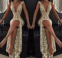 schwarze formale knie hohe kleider großhandel-Lace tiefem V-Ausschnitt Abendkleider Sparkly wulstige Sheer Backless Nixe-Abschlussball-Kleider Durchsichtig Sweep Zug Partei Vestidos nach Maß