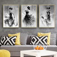 soyut modern siyah beyaz tuval resmi toptan satış-Siyah Beyaz Dans Kız Portre Yağlıboya Tuval, Modern Soyut Duvar Sanat Tuval Boyama Posteri 3 adet / takım Yok çerçeve