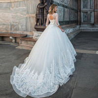 organza arco casamento trem venda por atacado-De alta qualidade vestido de baile vestidos de casamento com mangas meia bow tie oco de volta vestido de noiva sweep trem nupcial vestido de festa