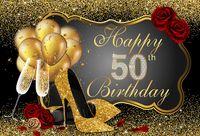 talons dorés fleurs achat en gros de-7x5FT Noir Or Bonne Fête D'anniversaire Glittler Rose Fleurs Talons Custom Photo Studio Toile De Fond Vinyle 220cm x 150cm