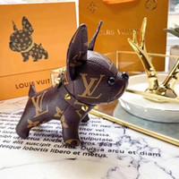 ingrosso catena d'oro francese-nuovo design vera pelle di mucca bulldog francese catena chiave del marchio design ciondolo catena chiave bulldog francese