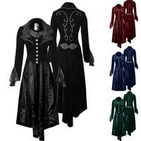 trajes góticos venda por atacado-Vitoriano Renascença Mulheres Retro Brasão Steampunk Tailcoat Gothic longo gótico medieval do revestimento do revestimento Trajes Medievais roupa Top