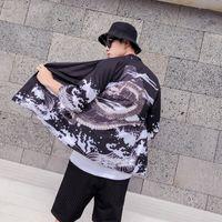 chaqueta mandarina vintage al por mayor-Kimono japonés para hombre y para mujer Camisa de la chaqueta chaqueta de punto suelta protector solar Casual Vintage Print Japón Estilo Playa a prueba de sol