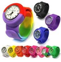 gummischlauch uhr großhandel-Kinder Unisex Silikonkautschuk Slap Wrist Pop Watch Jungen Mädchen Kinder Geschenk