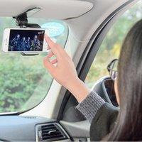 Wholesale phone car visor holder for sale - Group buy Universal Car Phone Holder For Sun Visor Car Mobile Phone Holder Windshield Mount Stand In