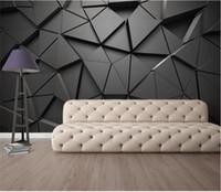 tamanho do papel de parede venda por atacado-Tamanho personalizado foto papel de parede 3d mural de parede sala de estar geométrico abstrato cinza triângulo foto sofá pano de fundo papel de parede mural não-tecido adesivo