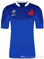 estampados blancos azules al por mayor-Copa del mundo 2019 Camiseta de rugby de Francia FRANCIA Inicio Azul Rugby Camisetas de Japón Inicio Blanco Rojo Selección Nacional Rugby japonés tamaño S-3XL (puede imprimir)