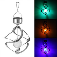 Wholesale led wind chimes for sale - Group buy Solar Powered LED Waterproof Wind Chimes Wind Spinner Light Outdoor Hanging Spiral Garden Light Courtyard Decoration ZZA239