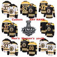 camisetas de hockey de boston al por mayor-2019 Stanley Cup Final Boston Bruins Camisetas de hockey Patrice Bergeron Jersey Zdeno Chara David Pastrnak Brad Marchand Personalizado cosido