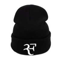 Wholesale f hats resale online - 2019 winter Federer with the same paragraph men and women F embroidery knit hat new tide brand wool hat women fashion wild warm