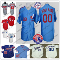 ingrosso stella bianca blu-Custom Montreal Expos Jersey Mens Womens Youth Kids Grigio 1982 All Star Bianco Royal Blue Pullover cucito qualsiasi numero proprio nome S-4XL