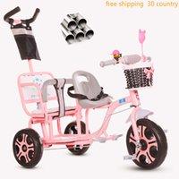 dreirad fahrrad kind großhandel-Kinder-Dreirad-Laufrad 3 in 1 Doppelkinderwagen doppelt mit dem Kindertrick