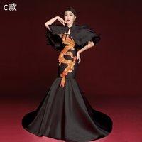 ingrosso vestito lungo dal cheongsam cinese nero-Elegant Black Cheongsam cinese sexy stile di abbigliamento della novità lunga fase di esposizione del partito abito Fishtail Trailing robe de soiree