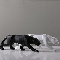 estatuas de leopardo al por mayor-Leopardo estatua de gran tamaño moderna escultura abstracta geométrica estilo de resina Pantera Figurita Inicio ornamento decoración de la oficina Animal