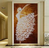 corredor parede papel de parede venda por atacado-Modern 3D Foto Não-tecido Tecido Wallpapers Murais Corredor Da menina Da Bailarina pintura A Óleo Decoração de Casa Sala de estar Quarto Decoração Da Porta