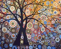Wholesale oil painting trees living room for sale - Group buy New Diy digital oil painting Color glare tree frameless coloring hand painted Living room bedroom decoration painting