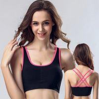 sutiãs esportivos para meninas venda por atacado-Push Up fio gratuito acolchoado Sports Bra aptidão que funciona Yoga Mulheres Meninas Sexy Underwear respirável Bras