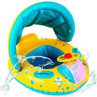 crianças, natação, anel, bote venda por atacado-Inflável Bebê Assento Flutuador Barco Crianças Natação Portátil Assento de Segurança Ajustável Sombrinha Barco Anel de Verão Piscina Esporte de Água